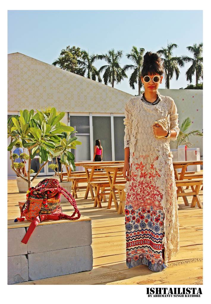 Rashi Verma, Vlogger. White cannot be more dramatic than this one-say sequins,crochet, florals all together and those statement glasses definitely makes her a showstopper.