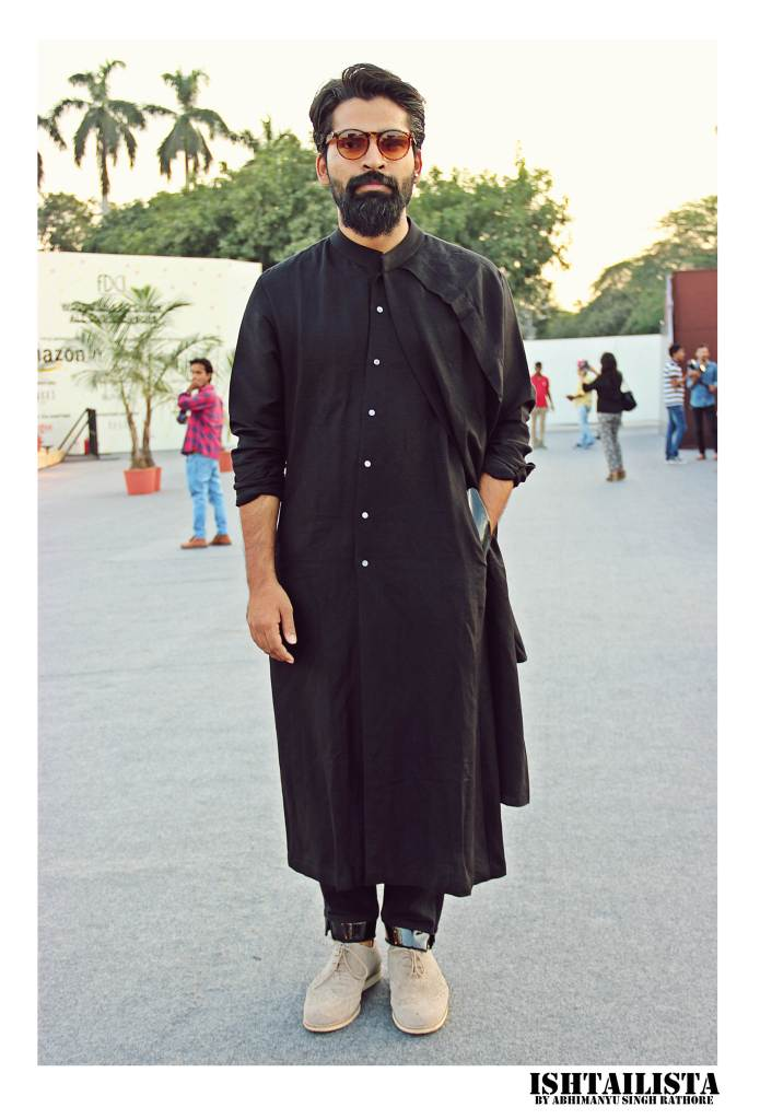 Call it a long shirt or kurta I love the entire black on black styled well with grey brogues.